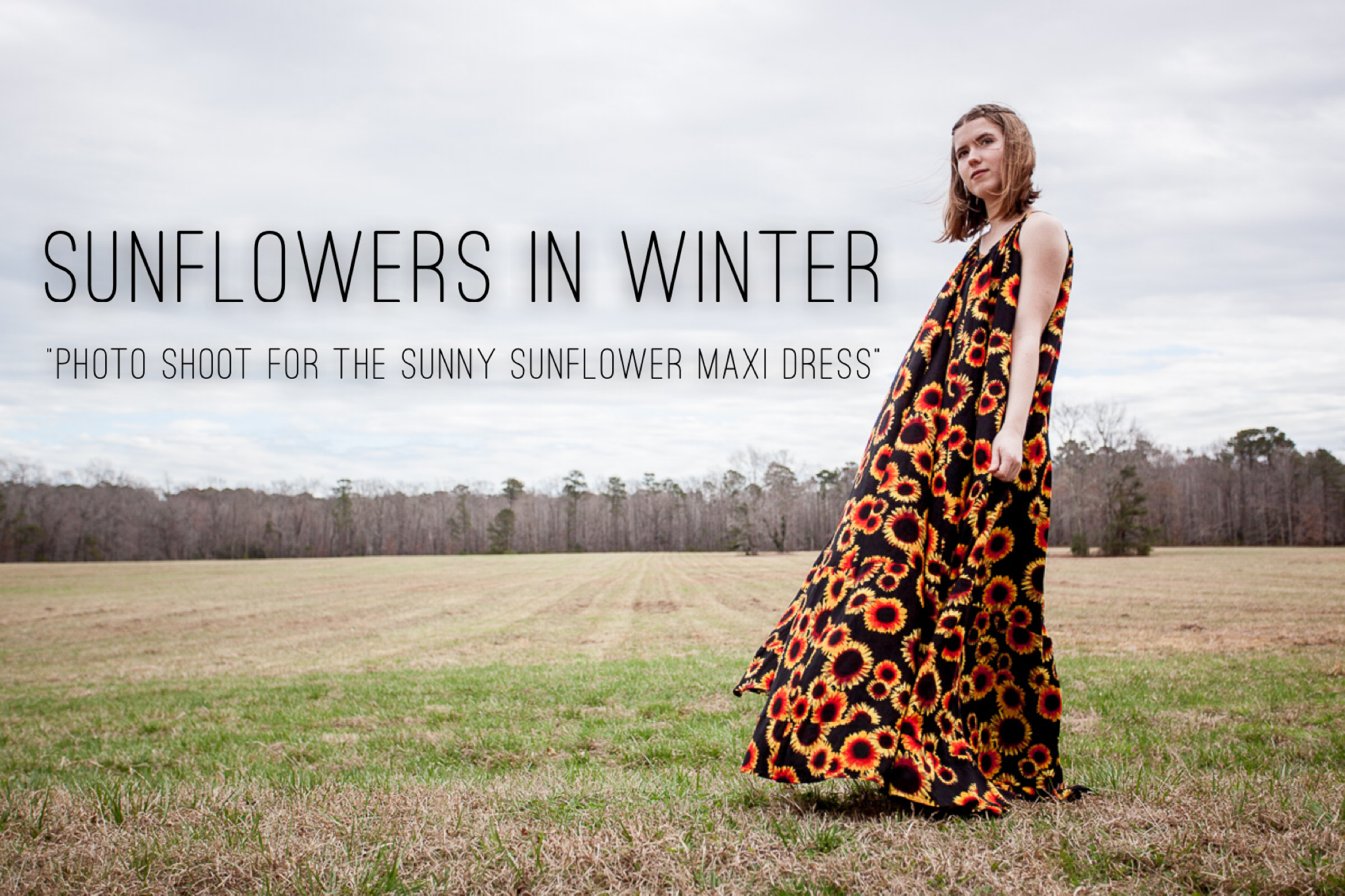 SUNFLOWERS IN WINTER-the photoshoot for the Sunny Sunflowers Maxi Dress @gossamerydreams.com