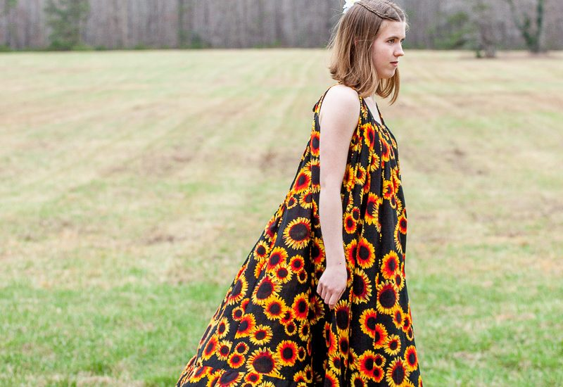 """SUNFLOWERS IN WINTER- Photoshoot for the """"Sunny Sunflowers"""" maxi dress"""