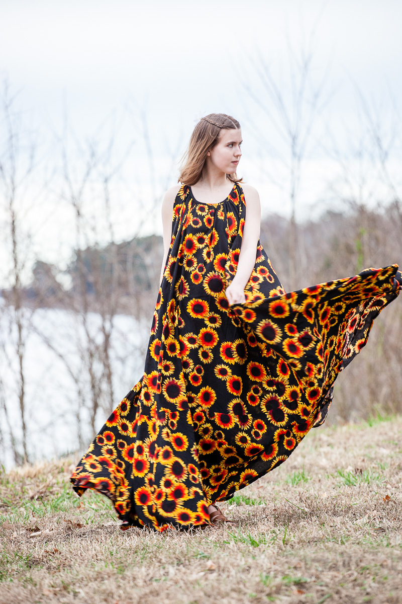 The Sunny Sunflower Maxi Dress-Learn about this dress at www.gossamerydreams.com